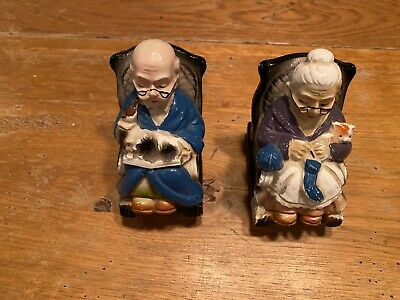 Vintage Ceramic Japanese Grandma & Grandpa Piggy Coin Banks Made 1950-1960