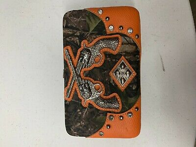 BLACK TOOLED MOSSY CAMO BUCKLE LOOK FLAT THICK WALLET COUNTRY WESTERN BLING NEW
