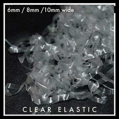 Clear Elastic 6mm wide, approx 0.12mm thick : 2 or 5 metre lot TPU tape
