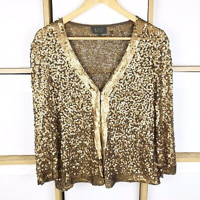 EAST Boutique Bronze Metallic Sequin Jacket / Cover Up Size 12 VGC