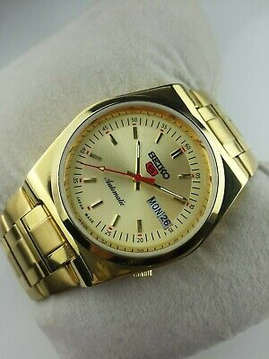 Vintage Seiko 5 Elegant Golden Case Mens Automatic Japan Working Wrist Watch Mn,