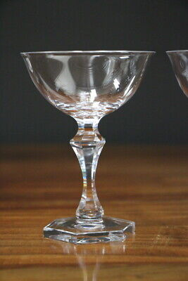 French set champagne glasses antique 19th century heavy cut crystal wine glasses