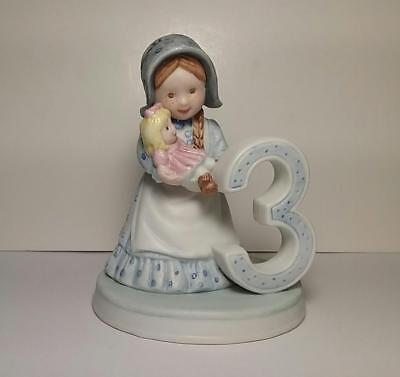 Vintage 1982 Holly Hobbie - Age 3 Birthday Porcelain Girl Figurine - UNUSED
