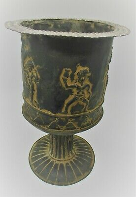 Museum Quality Ancient Persian Hand Beaten Silver Chalice With Scenes 400Bc