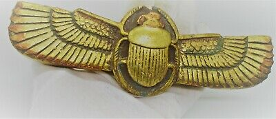 Circa 500Bce Ancient Egyptian Gold Gilded Stone Winged Scarab With Heiroglyphs