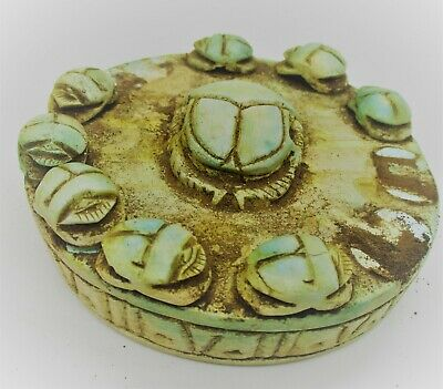 Beautiful Old Antique Egyptian Glazed Faience Ornament Group Of Scarabs