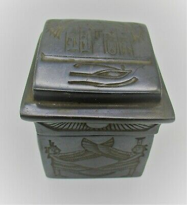 Beautiful Old Antique Egyptian Black Stone Safebox With Heiroglyphics