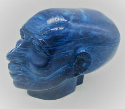 Beautiful Vintage Egyptian Blue Stone Statue Fragment Head Of Ahkenaton