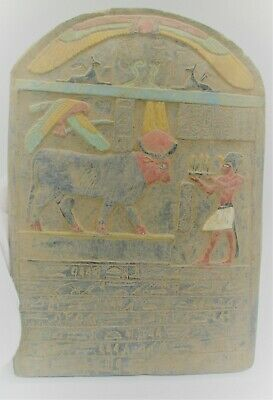 Ancient Egyptian Stone Carved Panel With Heiroglyphs Hathor And Servant