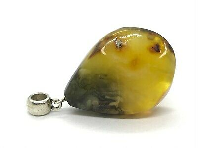 Natural BALTIC AMBER PENDANT Yellow Dark With Small Plant Inclusion 9,1g 10059