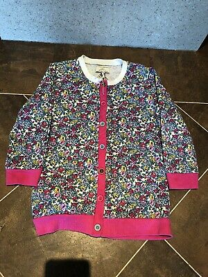 Girls Little Joule Joules Floral Flowers Print Pink Cardigan Age 9-10 Years