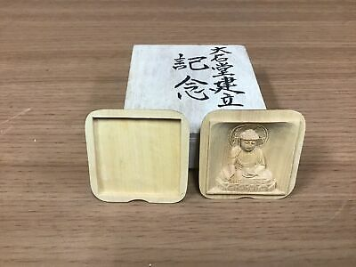 Y0912 BOX wood carving Buddha amulet lucky charm Japanese incense container