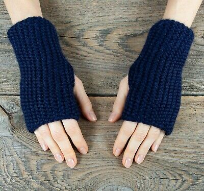 Deep navy blue alpaca wool fingerless gloves winter men women arm warmers chunky