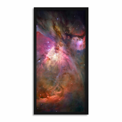 Hubble Orion Nebula Space Universe Long Panel Framed Wall Art Print 12x25 Inch