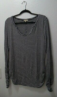 Democracy XL Navy Blue White Striped Shirt Top Womens Knit Long Ruched Sleeve