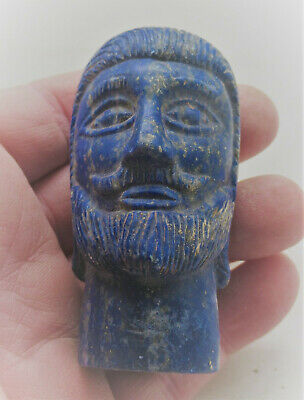 Beautiful Ancient Sasanian Lapis Lazuli Carved Statue Fragment Bearded Male Head