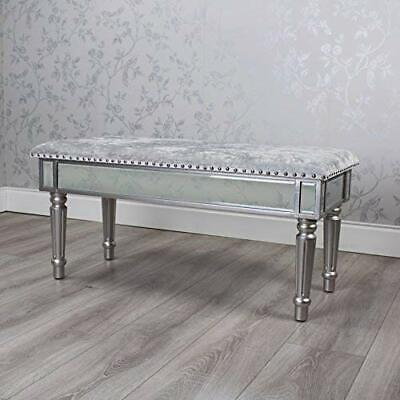 Antique Silver Mirrored Glass Grey Velvet Bench Window Bedroom Seat (Gb054)