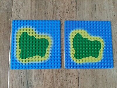 Baseplate 16 x 16 with Island on Blue Water Pattern Pirates 6265 6260 LEGO