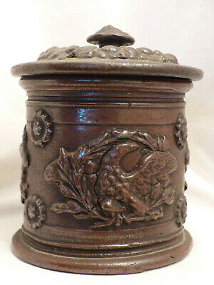 grand pot a tabac ancien en gres faience aigle Napoleon  old french antique