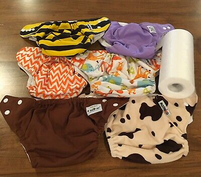 Adorable Cloth Diaper Lot FuzziBunz Moshiko BabyCity 7 Pc with Inserts & Liners