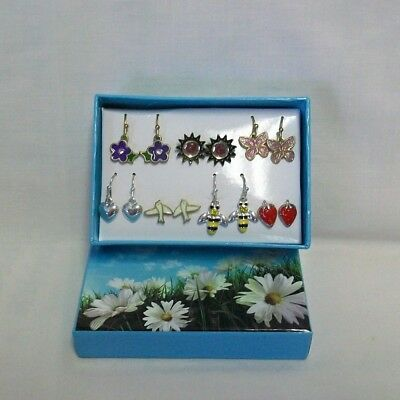Lot of 6 Pairs of Earrings in Gift Box - Flowers, Birds & More!