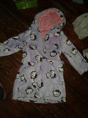 M&S Purple Hello Kitty hooded Robe Dressing Gown 5-6 Years