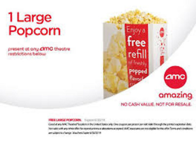 AMC Theaters 1 Large Popcorn, FAST DELIVERY (PURCHASE LIMIT 4)