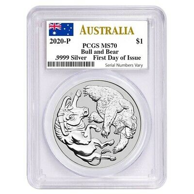 2020 1 oz Silver Australian Bull and Bear Coin Perth Mint PCGS MS 70 FDOI