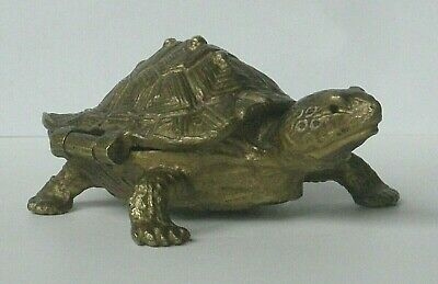Vintage 1976 Arthur Court Designs Small Turtle Bronze Hinged Opening Shell Box