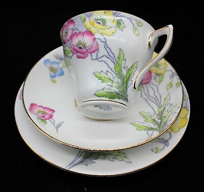 Vintage Mid Century Rosina Bone China Trio Cup Saucer Plate Floral Pattern 4937
