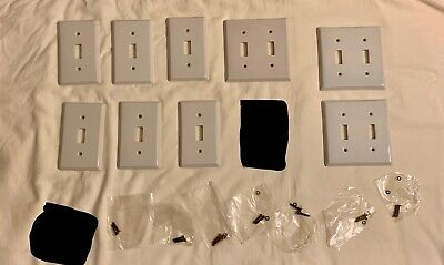 Lot of 9 Porcelain Ceramic Single/Double Switch Plate Covers Off White/Ivory