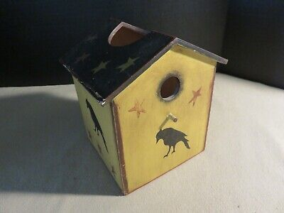 """PRIMITIVE SQUARE TISSUE BOX COVER HOLDER /""""KEEP LIFE SIMPLE/"""" WITH STAR AND BUTTON"""