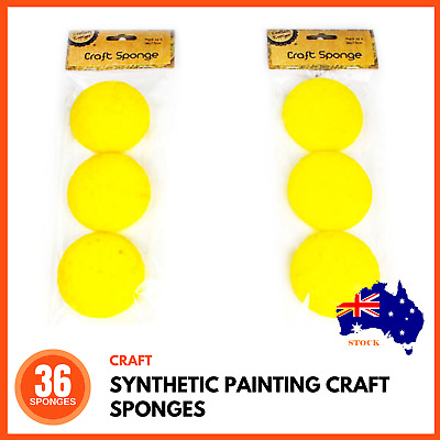 36 x SYNTHETIC ARTISTS SPONGES Painting Face Paint Pottery Clay Art Craft 7.5cm
