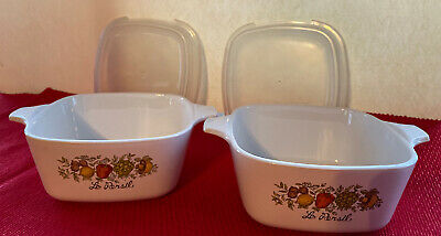 2 Corning Ware Spice of Life p43b  700ml 3/4 cup Petite Pans with snap on lids