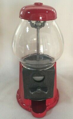 Gumball Machine Candy Dispenser Bank Coin Operated Vintage Red
