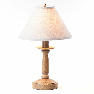 Butcher Lamp in Americana Pearwood with Linen Ivory Shade Wood Table Lamp