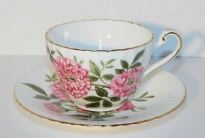 Vtg. Paragon Fine Bone China Peony Floral Pink Flowers Tea Cup and Saucer
