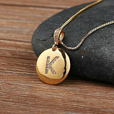 Women Girls Initial Letter Charm Necklace Pendant Copper Jewelry Personalized
