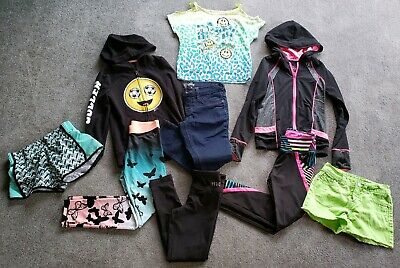 9 Pc Justice Girls Lot Leggings Jeans Zip Up Hoodies Running Track Suit Size 7 8