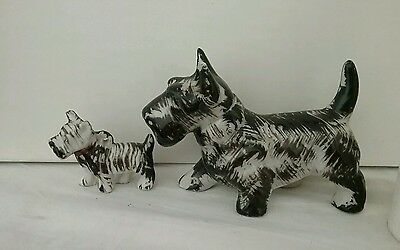 Lot of 2 Ceramic Black & White Scottie Scottish Terrier dog figurines Mom Puppy