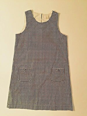 NEW Girl's CREWCUTS Black & White GEOMETRIC Link SHIFT DRESS S 6 7 Party Lined