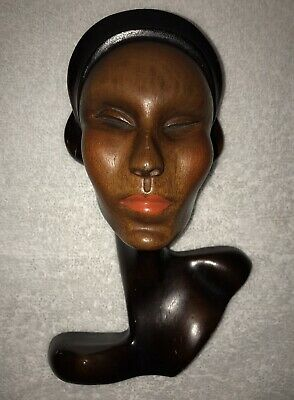 1920s-1930s art deco wood carved bust woman lady head flapper girl wall hanging