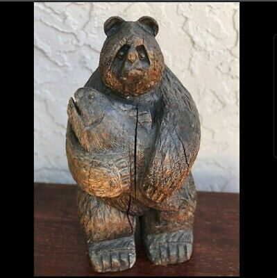 RARE Antique California Redwood Stump Carved Grizzly Bear - Great Details!
