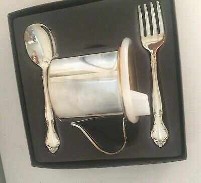 VINTAGE Silver Spoon Cup Fork Set Made In USA Oneida Silverplate baby NEWBORN