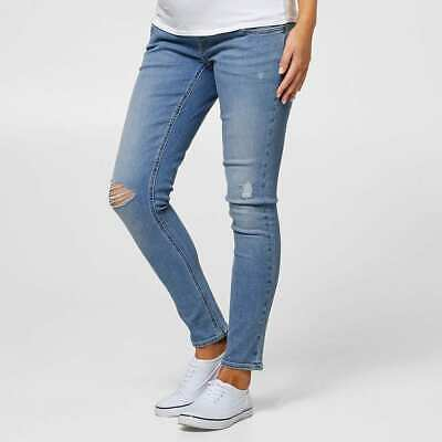 Ladies size 12 Blue denim MATERNITY over the belly SKINNY Jeans rips Target NEW