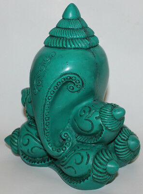 Resin Green Ganesh Statue, Hand Craved Nepal, CL-215, Brand New