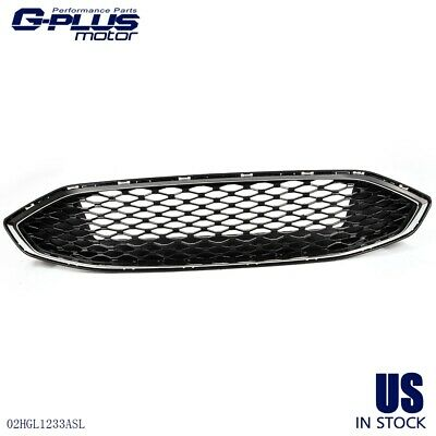 Gloss Black w/Chrome Front  Bumper Grill For Ford Fusion 17 18 Honeycomb Style