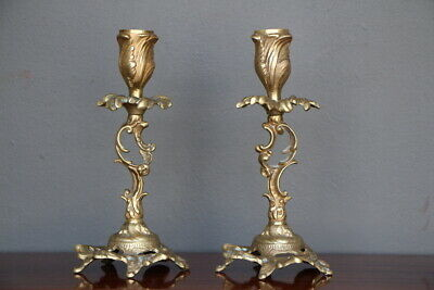 Heavy pair French rococo patinated bronze brass candlesticks antique Louis XV