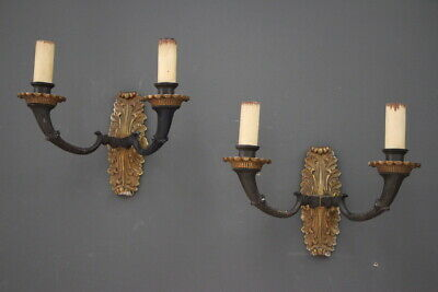 Pair antique gilt bronze Empire wall lights electric candles French patina