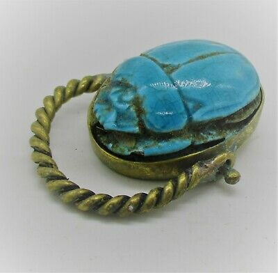 Ancient Egyptian Glazed Faience Scarab Set In A Gold Gilt Swivel Ring